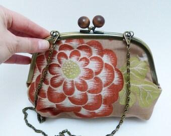 Crossbody bag, vintage floral Japanese obi fabric handbag