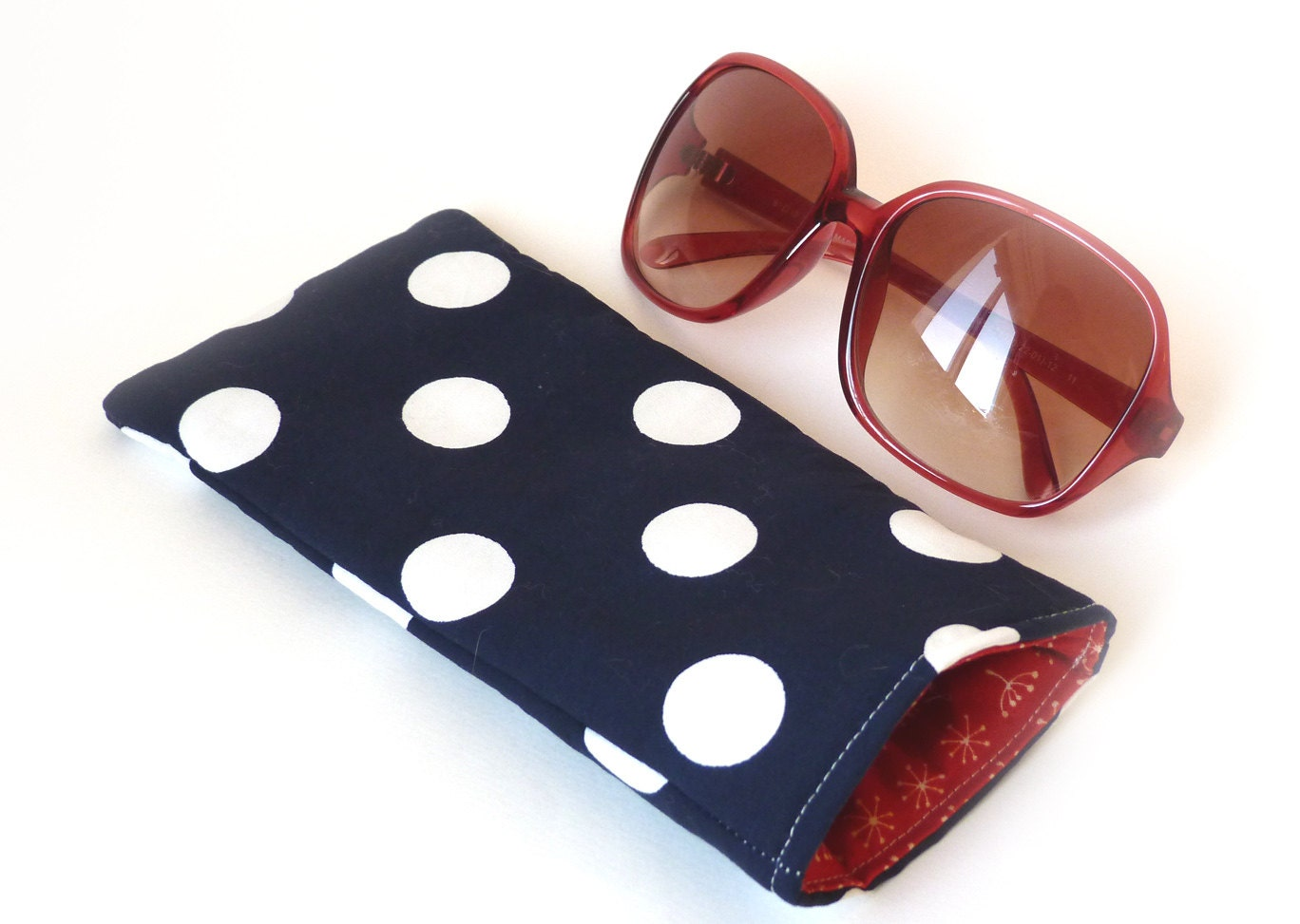 Glasses case Blue and white over size polka dot fabric