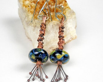 Borosilicate Glass Mixed Metal Dangle Earrings, Forged Copper and Sterling Silver, Boro Beads, Glass, Tribal, Wire Wrapped- Worldly
