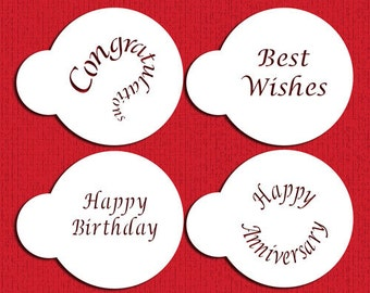 Special Occasions Stencils for Cookies, Cakes, Cupcakes - Best Wishes Congratulations, Happy Birthday, Anniversary, Designer Stencils (C135)