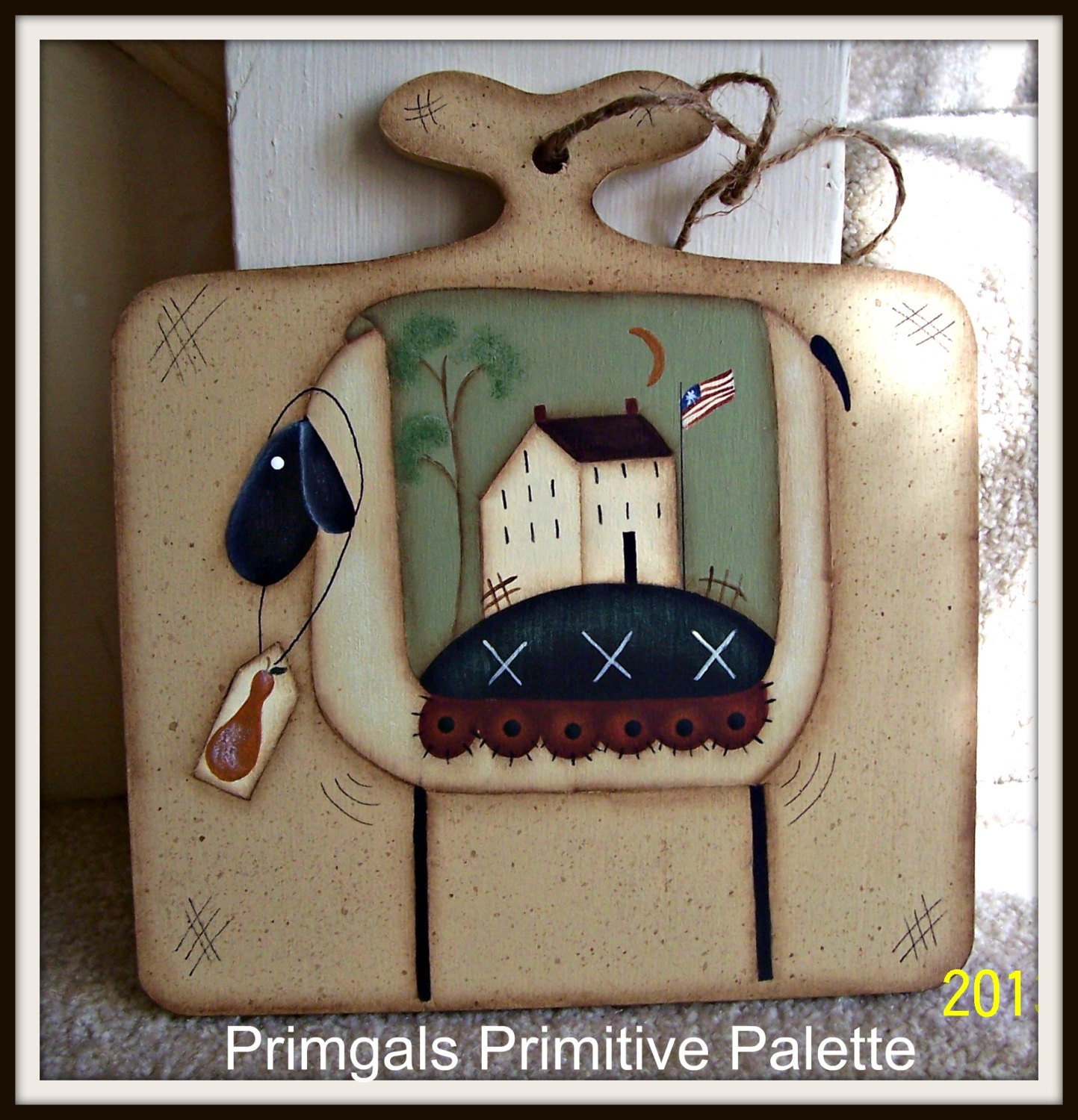 Ratings Feedback For Gavan Wood Painting Decorating: Primitive Spring Sheep Wood Saltbox House Plaque Hand Painted