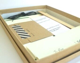 Red & Peach Bookbinding Kit DIY, Make 2 Basic Soft Cover Notebooks plus 1 Mini Book!