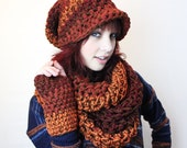 SET FIRE Rasta love slouch hat fingerless gloves chunky vegan cowl hood scarf cedar brown