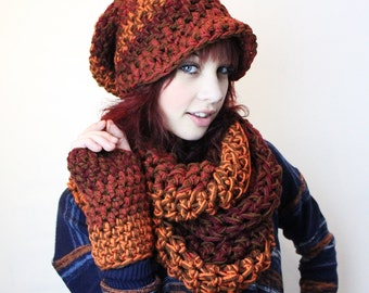 FIRE,Rasta Love,Super Chunky Scarf,slouch hat,Infinity Scarf, Cowl Scarf, Chunky Crochet Scarf, Fall Fashion, High Fashion, Winter Scarf