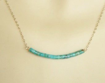 Genuine Turquoise  heishi  necklace with 14K gold filled chain, natural turquoise necklaces