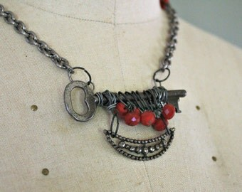 Skeleton Key & Red Bead Necklace. Handmade Statement Piece