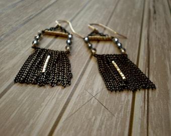 Black & Gold -  Fringe Box Earrings - Hanging Black Chains - Geometric Earrings-Holiday Gift- Boho Earrings - Bohemian - Chandelier Earrings