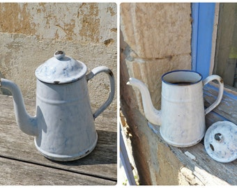 Vintage Antique 1900/1920 French enamel coffee pot pitcher / marble effect white & blue