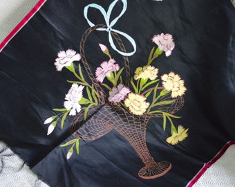 """1930s Hand Painted Black Satin Material Panel - Carnations Basket Design 22 x 22"""" Square 2 of 3 -  Buy 2 get 3rd FREE Offer"""