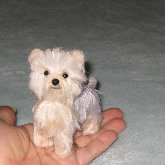 Handmade Animal Sculpture / Custom Pet Portrait / Your Pet in Miniature / Needle Felted Dog / Cute / poseable