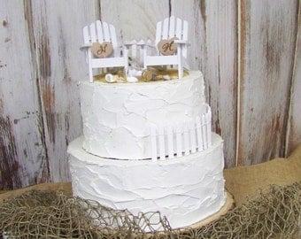 Beach Wedding Cake Topper, Adirondack Cake Topper, Beach Theme, Adirondack Chair Cake Topper, His and Hers Cake Topper