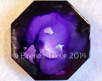 Purple snd Black Abstract Alcohol Ink Octagon Magnet