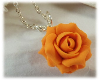 Dainty Orange Rose Necklace - Orange Rose Jewelry, Orange Flower Necklace