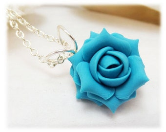 Dainty Turquoise Rose Necklace - Turquoise Rose Jewelry, Turquoise Flower Necklace