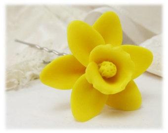 Daffodil Hair Clip Pin - Daffodil Hair Flower, Daffodil Bridal Hair Pin