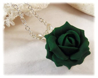 Dainty Green Rose Necklace - Green Rose Jewelry Collection, Green Flower Necklace