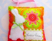 Happy Easter Stuffed Pillow Hanging Ornament with White Felt Bunny