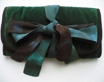 Green Velvet Jewelry Case with silk ties in shades of charcoal, navy and forest green