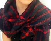RESERVED-Black Stripes and Red to Orange to Purple Extra Long Narrow Handwoven Scarf- Reserved for Debra