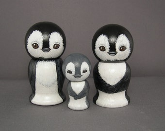 Penguin Cake Toppers Figures Couple with Child