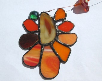 Happy - Stained Glass Suncatcher with Polished Agate Slices