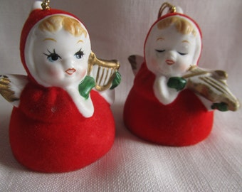 Vintage 1950's Red Flocked Porcelain Angel Christmas Bells With Musical Instruments
