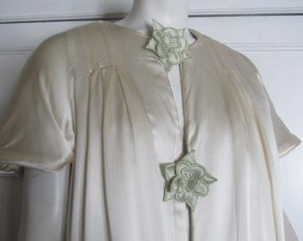 SALE Vintage 1970's Reversible Satin Robe, Bride's Trousseau, Celery Green, Ivory Cream Was 79.99 Now 69.99