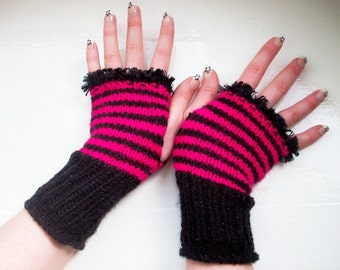 Hand warmers fingerless gloves wool free vegan warm sparkly black hot pink