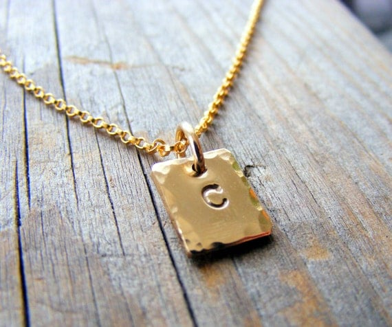 Gold Initial Tag Charm Necklace, 14kt Gold Necklace, Personalized, Letter, Alphabet, Gold Initial Square Charm Pendant