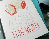 Accordion To Me... Letterpress Note Card