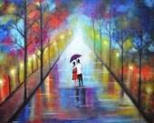Original handmade Painting-Romantic Interlude-Acrylic on canvas print couple red umbrella blue Landscape-PRINTS ON SALE!