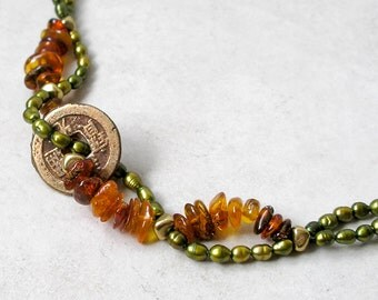 Ancient Coin Bracelet- Ethnic Beaded Baltic Amber Freshwater Pearls Beadwork Custom Made