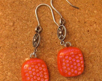 Dichroic Earrings Fused Glass Jewelry Dichroic Jewelry Glass Earrins Orange Earrings