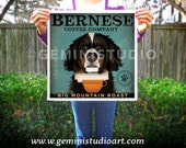 Bernese Mountain Dog Coffee Company giclee archival print signed by Stephen Fowler Pick A Size