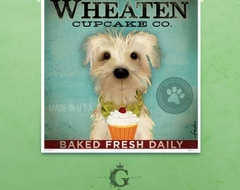 Wheaten Terrier Cupcake  company original illustration giclee signed artists print by Stephen Fowler