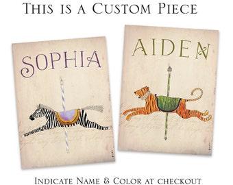 custom Childrens carousel animals graphic artwork original illustration signed archival artists print giclee