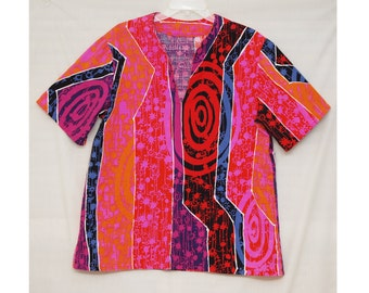 Funky Vintage Top, 1960s Pink and Red Top, Short Sleeved, Tshirt Style, Bright, Abstract, Psychedelic, Cotton Pull-over, Unisex, Unique