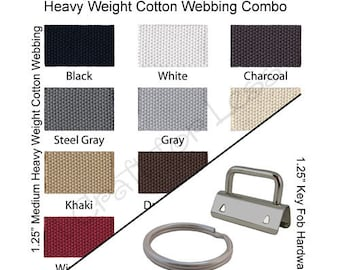 35 Key Fob Hardware / 15 Yards Medium-Heavy Weight Cotton Webbing Combo - 1.25 Inch - Plus Instructions - SEE COUPON