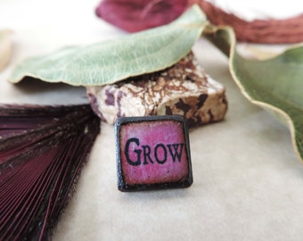 Pink Raspberry Black antiqued GROW Inspirational Word double sided ART Tile wood pendant charm