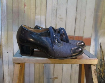 Vintage Spectator 40s shoes vintage Swing Shoes 40s Sheer Net Shoes Purple Leather Toes  6.5