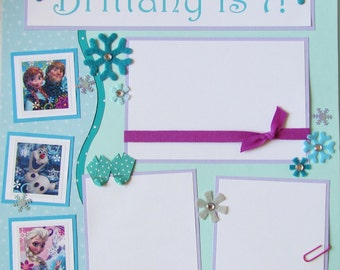FROZEN birthday or other occasion 12x12 Premade Scrapbook Pages - PeRSoNaLiZeD -