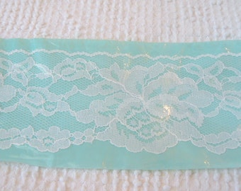 Vintage White Chantilly Lace Flat Trim with Scalloped Edges -  1  1/2 yards long by 2 3/4 inches wide