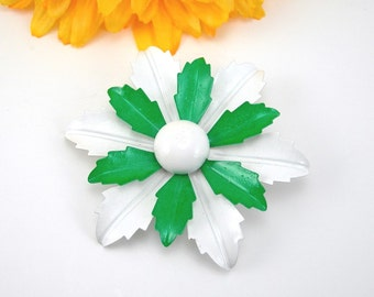 Green and White Enameled Metal Brooch, Vintage c1970s Flower Power Costume Jewelry, MOD Pin