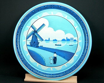 Blue and White Serving Tray, Dutch Holland Windmill, Made in England, Vintage Kitchen Decor
