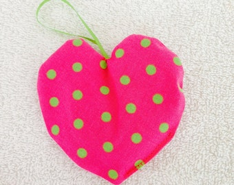 Lavender Sachet-Pink with Green Polka Dots (LAV 18)