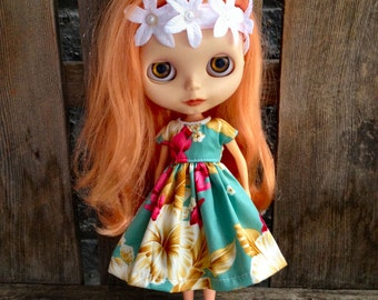 dolly molly HAWAIIAN hibiscus dress and hair flower for BLYTHE doll