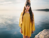 PPP Grounded Mustard Jersey Knit Bell Sleeve Mini Dress Beach Cover Up Festival Wear