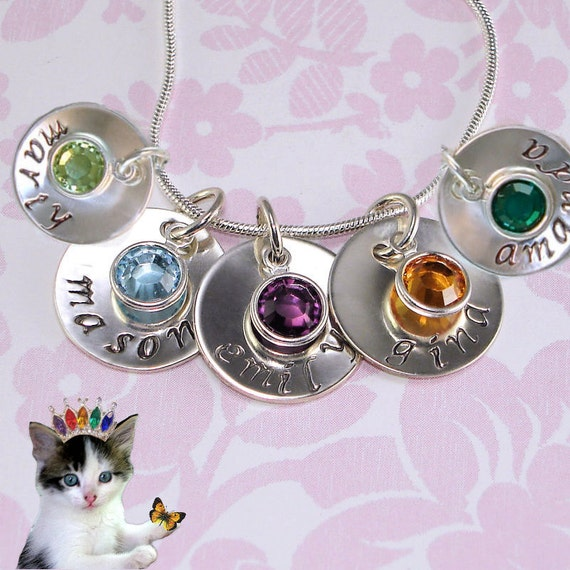 Personalized mothers charm necklace hand stamped family jewelry