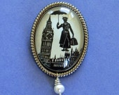 Sale 20% Off // MARY POPPINS Brooch - Silhouette Jewelry // Coupon Code SALE20