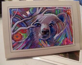 greeting card print of original art- colorful bear Zentangle